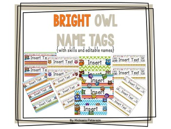 Bright Owl Desk Name Tags with Skills