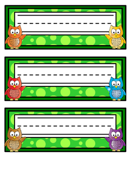 Bright Owl Name Tags - Printable Name Tags