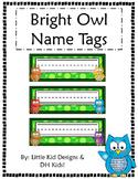 Bright Owl Name Tags - Printable Name Tags