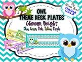 Bright Owl Nameplates Chevron (blue, pink, green, yellow, purple)
