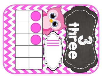 Bright Owl Number Posters Chevron 0-20 (Blue, Pink, Purple, Green)