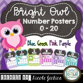 Bright Owl Number Posters 0-20 (Blue, Pink, Purple, Green)