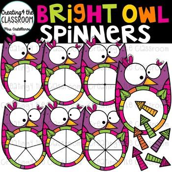 Bright Owl Spinners Clip Art {Owl Clip Art}