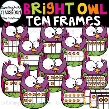 Bright Owl Ten Frames Clip Art {Owl Clip Art}