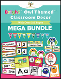 "Bright ""Owl Themed"" Classroom Decor Mega Bundle + Editables"
