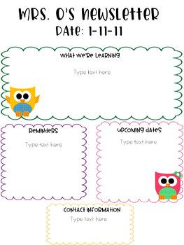 Bright Owl Themed Newsletter Template