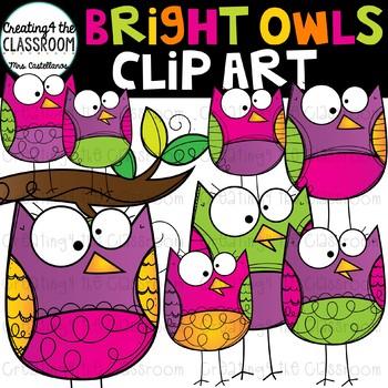 Bright Owls Clip Art {Owl Clip Art}