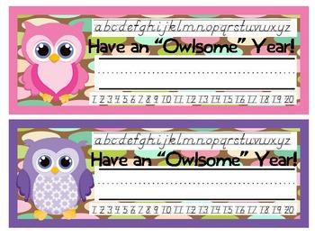 Bright Owls Desk Nameplates D'Nealian
