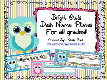 Bright Owls Desk Nameplates for ANY GRADE