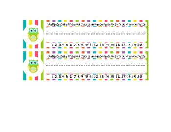 Bright Owls With Stripes Name Plates (for Desks)