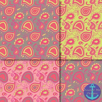 Bright Paisley (Vera Bradley Style) Papers for Backgrounds and More