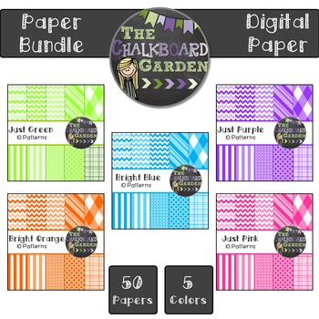 Bright Paper Bundle B {50- 15x15 Digital Scrapbook Paper}