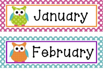 Bright Patterns & Owls Math Meeting Posters and Printables