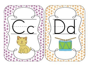 Bright Paw Prints Alphabet Cards