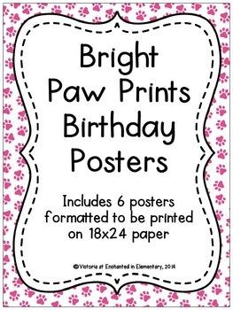 Bright Paw Prints Birthday Posters