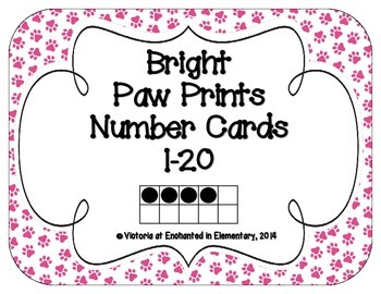 Bright Paw Prints Number Cards 1-20