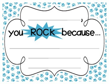 """Bright Paw Prints """"you ROCK because..."""" Student Recognition Signs"""