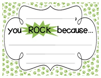 "Bright Paw Prints ""you ROCK because..."" Student Recognition Signs"