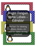 Bright Penguin Theme Name Labels - Editable!