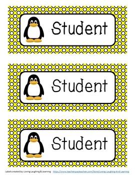 Bright Penguin Theme Name Labels - Editable!
