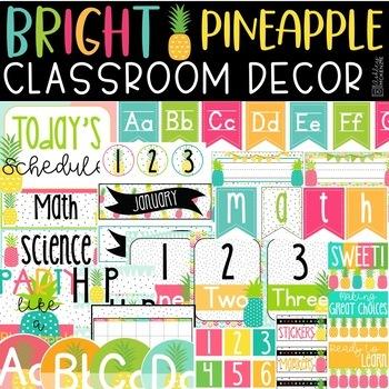 Bright Pineapple Classroom Decor Bundle