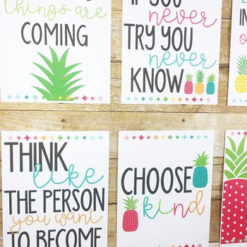Bright Pineapple Growth Mindset Posters