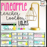 Bright Pineapple Teacher Toolbox Labels -Editable