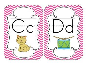 Bright Pink Chevron Alphabet Cards