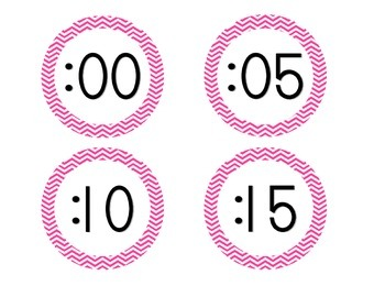 Bright Pink Chevron Clock Numbers