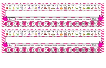 Bright Pink Chevron Desk Reference Nameplates