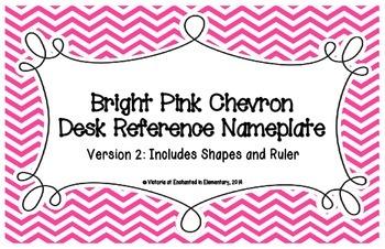 Bright Pink Chevron Desk Reference Nameplates Version 2