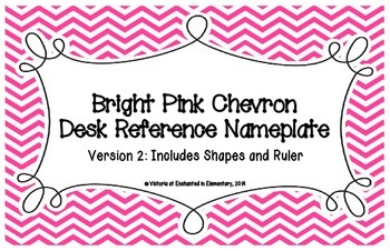 Bright Pink Chevron Desk Reference Nameplates Version 2