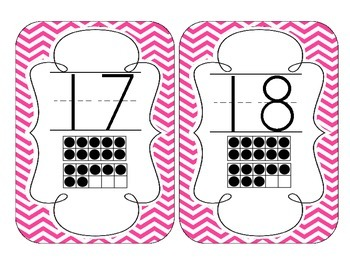 Bright Pink Chevron Number Cards 1-20