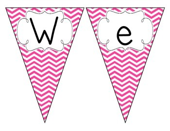 Bright Pink Chevron Welcome Pennant