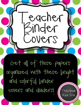 Teacher Binder Covers (Bright Pink, Green & Blue Theme} *Back to School*