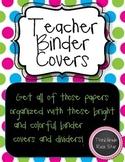 Teacher Binder Covers (Bright Pink, Green & Blue Theme} *B