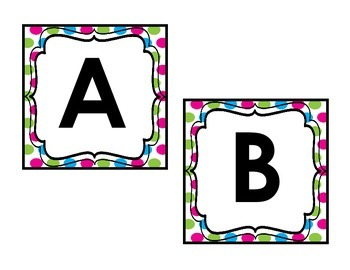 Bright Pink, Green, & Blue Word Wall Letters