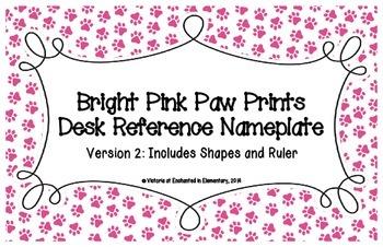 Bright Pink Paw Prints Desk Reference Nameplates Version 2