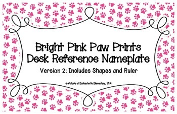 Bright Pink Paw Prints Desk Reference Nameplates Version 2