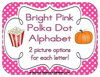 Bright Pink Polka Dot Alphabet Cards