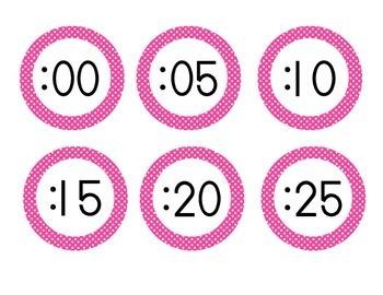Bright Pink Polka Dot Clock Numbers
