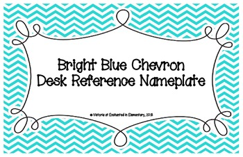 Bright Blue Chevron Desk Reference Nameplates