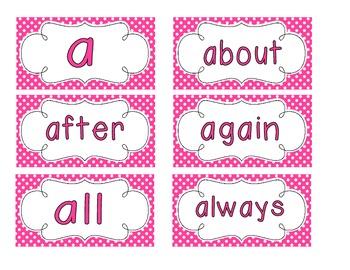 Bright Pink Polka Dot Word Wall Cards