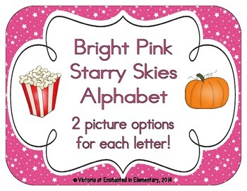 Bright Pink Starry Skies Alphabet Cards