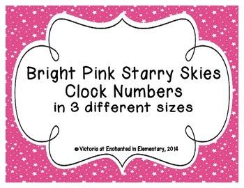 Bright Pink Starry Skies Clock Numbers