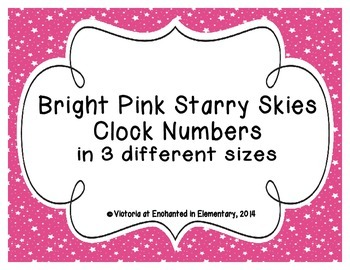 Bright Pink Starry Skies Clock Numbers