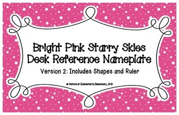 Bright Pink Starry Skies Desk Reference Nameplates Version 2