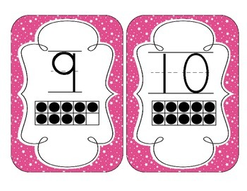 Bright Pink Starry Skies Number Cards 1-20