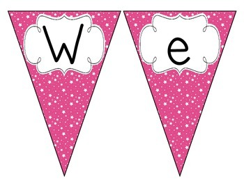 Bright Pink Starry Skies Welcome Pennant