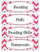 Bright Pink & White Chevron Schedule Cards